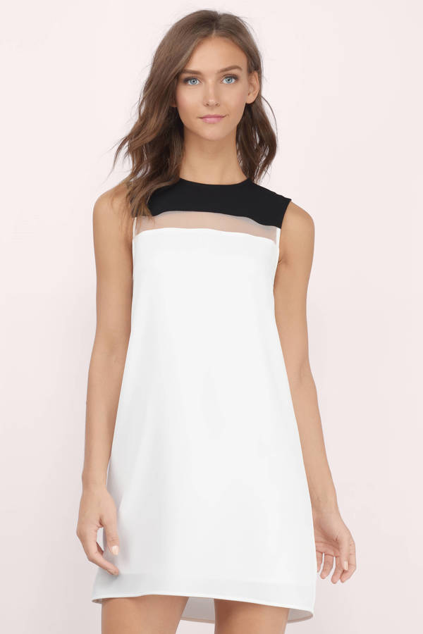 c75e841283 Cute Black   White Shift Dress - Sleeveless Dress - Shift Dress - kr ...