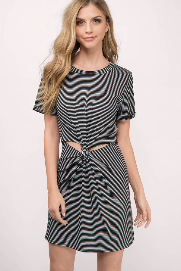 caf367981e2 Black Shift Dress - Twist Front Dress - Black Striped T-Shirt Dress ...