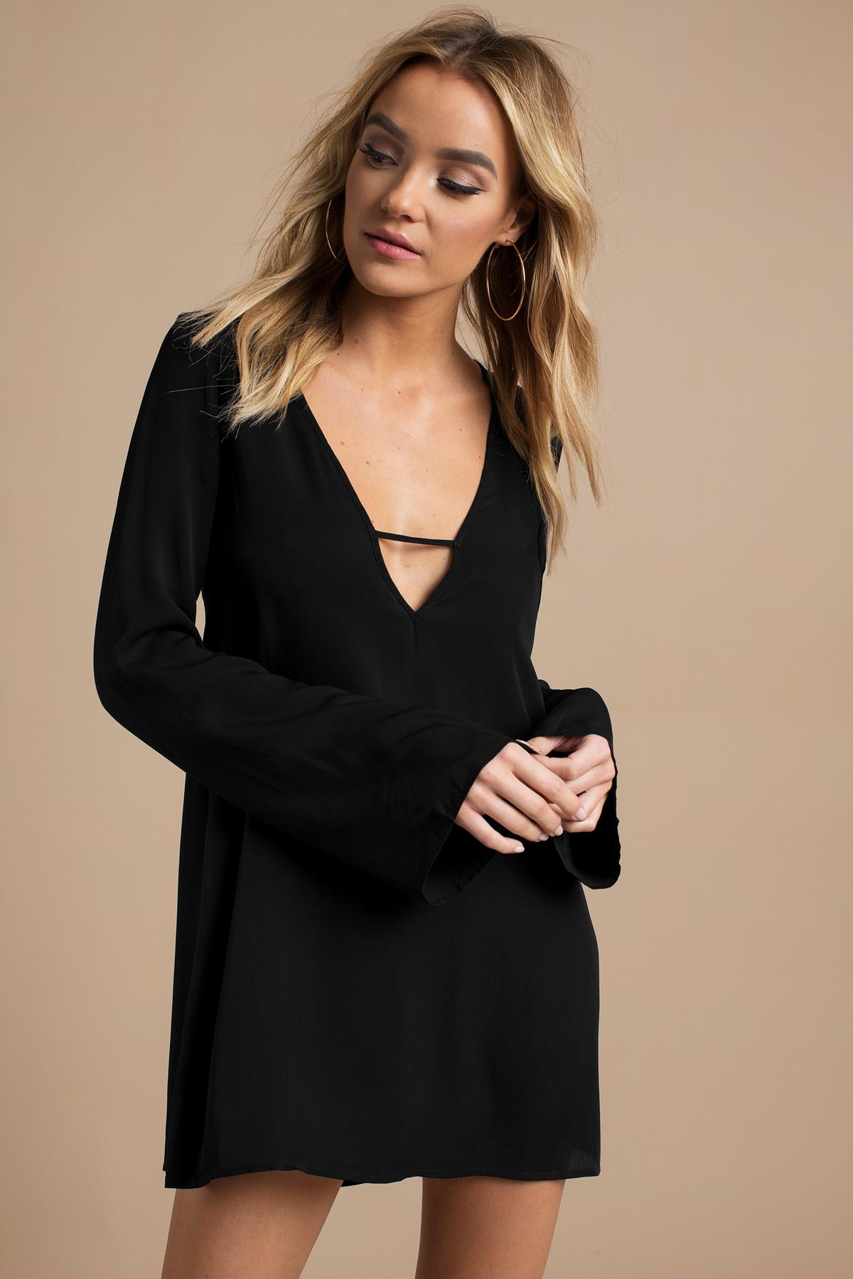 Cute Black Shift Dress - Bell Sleeve Dress - $50.00
