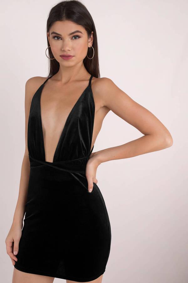 7d4fe9570f Black Bodycon Dress - Plunging Bodycon Dress - Black Cocktail Dress ...