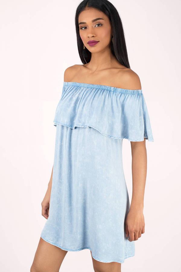 Cute Blush Shift Dress - Off Shoulder Dress - $66.00