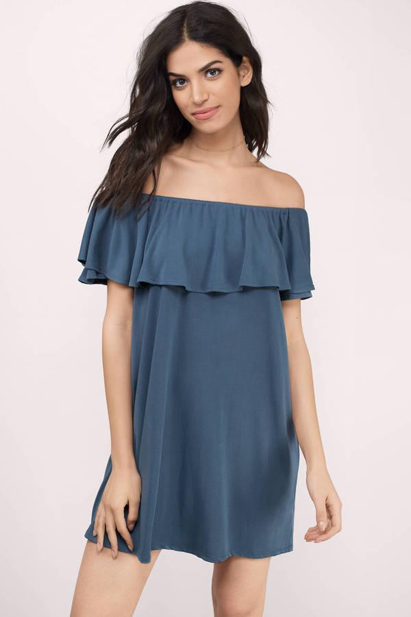Off the Shoulder Dresses - Maxi- Midi- Black- White- Red- Lace - Tobi