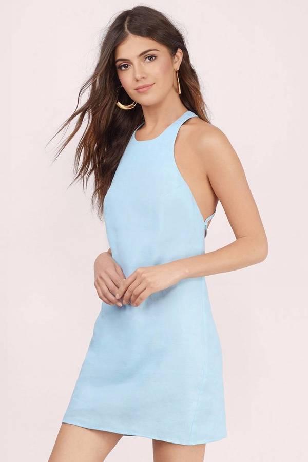 9705568da2cd Cute Blue Shift Dress - Blue Dress - Halter Dress - Shift Dress - kr ...