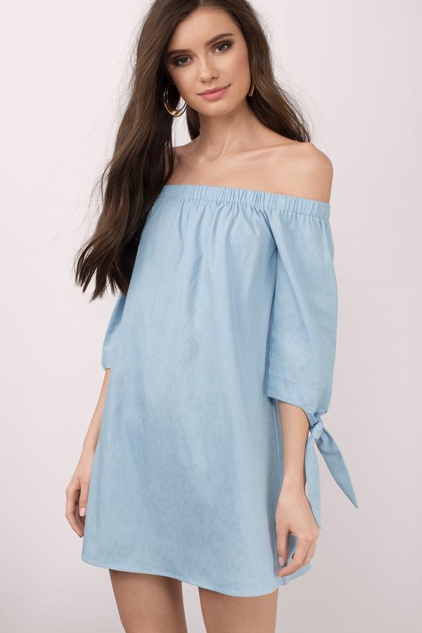 e72e80c5f1cb Cute Blue Dress - Ots Dress - Denim Dress With Sleeves - Shift Dress ...