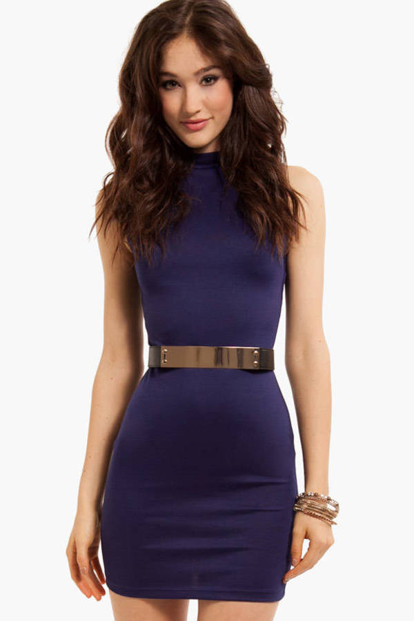 Metal Stud Belted Dress