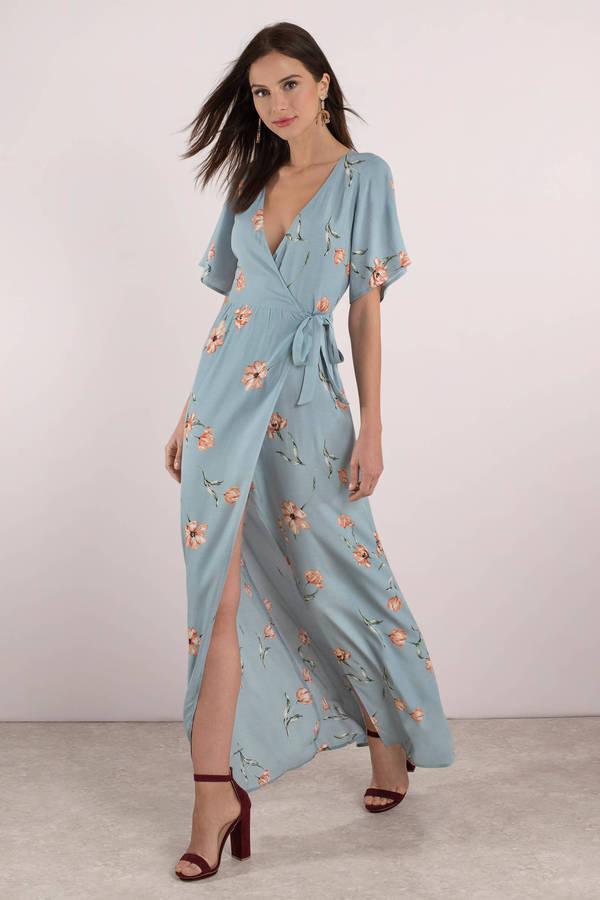 Wedding Guest Dresses Blue Multi Layla Floral Maxi Dress