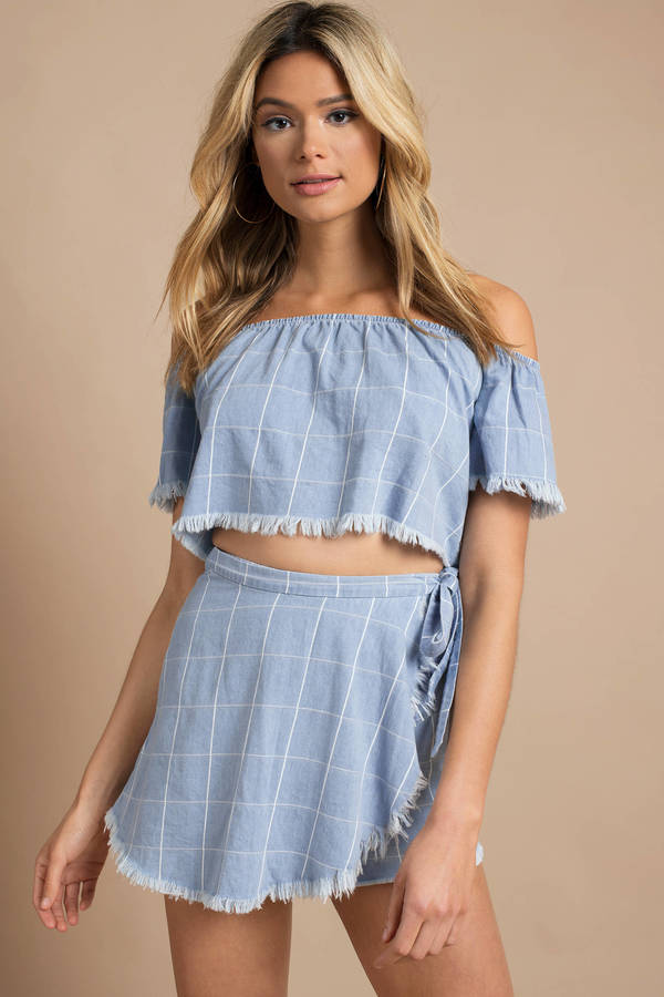 Show Me Your Mumu Millie Blue Multi Chambray Crop Top by Tobi