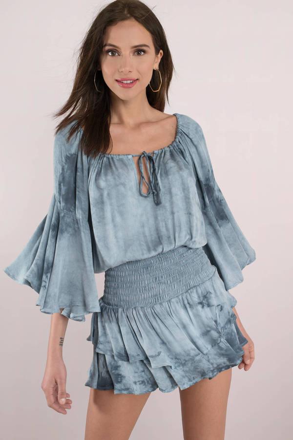 Boho Dresses Blue Multi Summer Dream Smocked Waist Dress