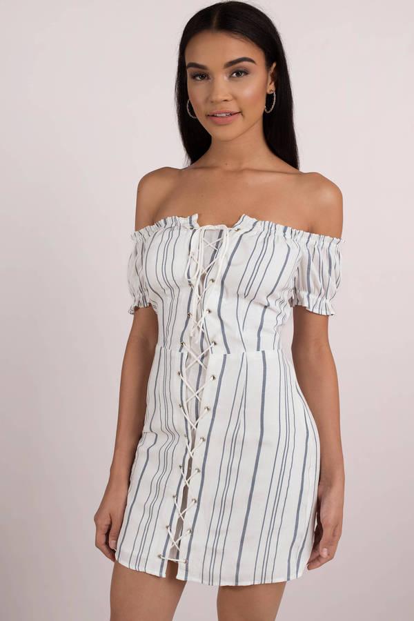 8288a3b8d5d3 White Casual Dress - Nautical Striped Dress - White Shift Dress - AU ...