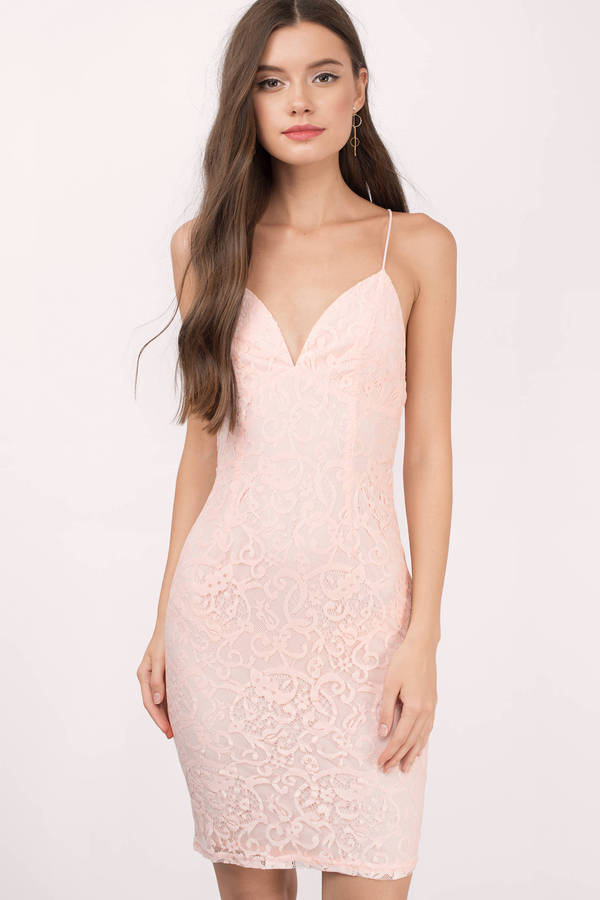 Sexy Blush Bodycon Dress - Plunging Dress - $60.00