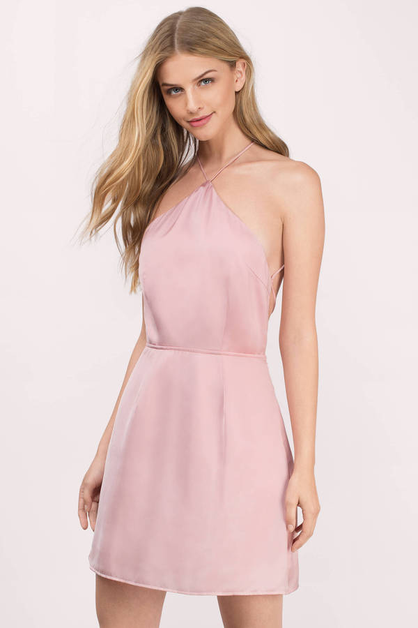 Wedding Guest Dresses, Blush, All Along Halter Skater Dress, ...