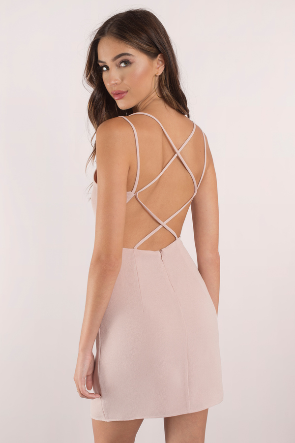 e0e39d9fe22d Sexy Blush Bodycon Dress - Strappy Dress - Bodycon Dress - € 20 ...