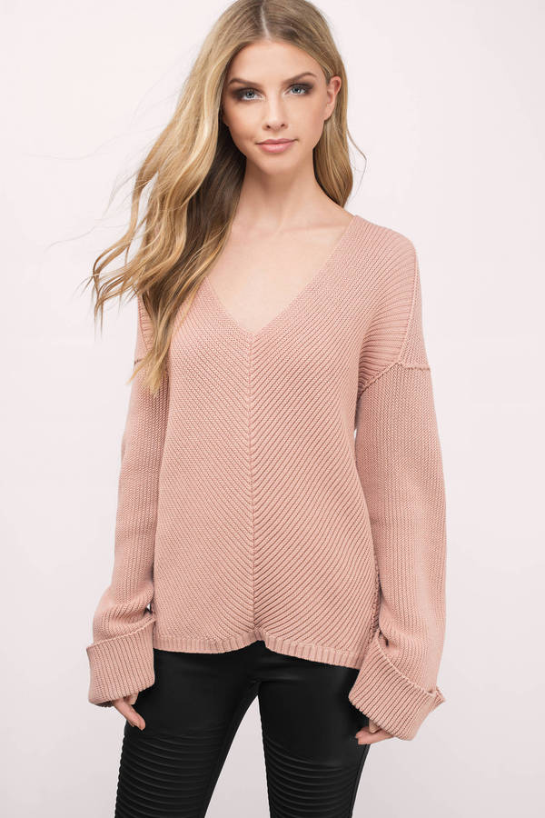 e4985710ac68e3 Blush Sweater - Pink Sweater - V Neck Sweater - Blush Top -  88 ...
