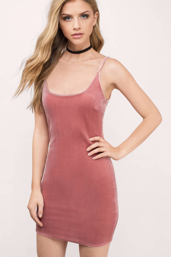 465dbc3d76e6 Cute Blush Pink Bodycon Dress - Velvet Dress - Blush Going Out Dress ...