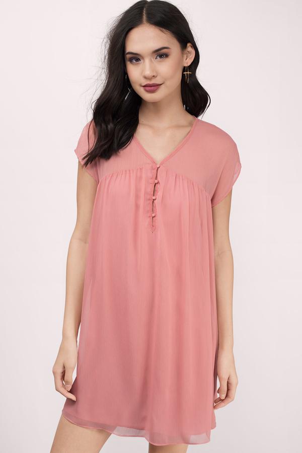 0f5a02e3ea2 Cute Blush Day Dress - Button Down Dress - Day Dress - € 13