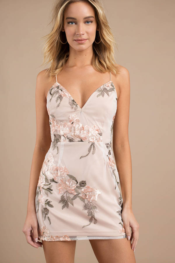 By My Side Blush Multi Embroidered Bodycon Dress by Tobi