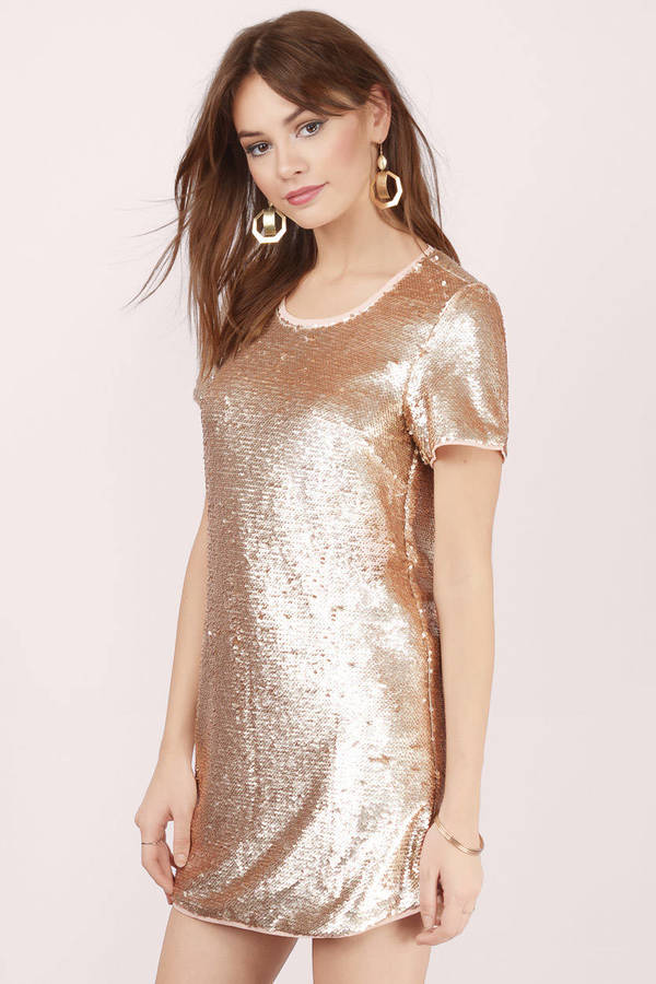 Sequin Dresses - Gold Sparkly Cocktail- Black Glitter Party - Tobi