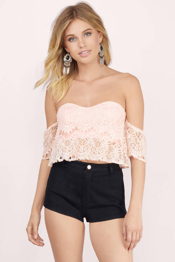 99ea4663296 Blush Crop Top - Pink Top - Sweetheart Top - Short Sleeve Lace Top ...