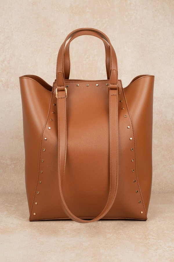 Handbags Brown Chrissy Studded Tote
