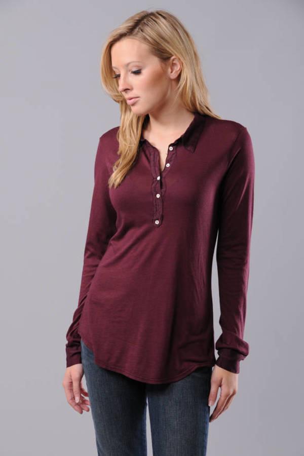 Rabe Womens long sleeve polo shirt.