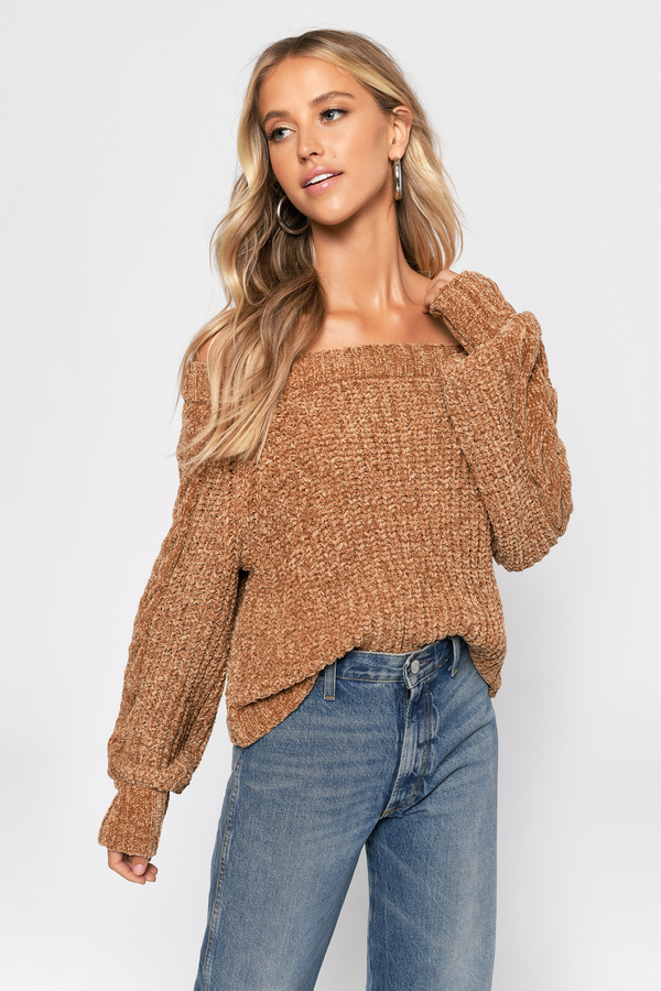 43f3f86083d Off The Shoulder Sweatshirts, Camel, Carla Chenille Crop Sweater, ...