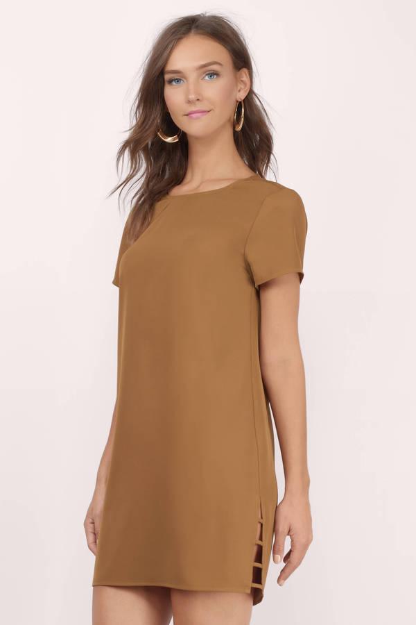 23a15b205047 Trendy Camel Shift Dress - Cut Out Dress - Shift Dress -  14