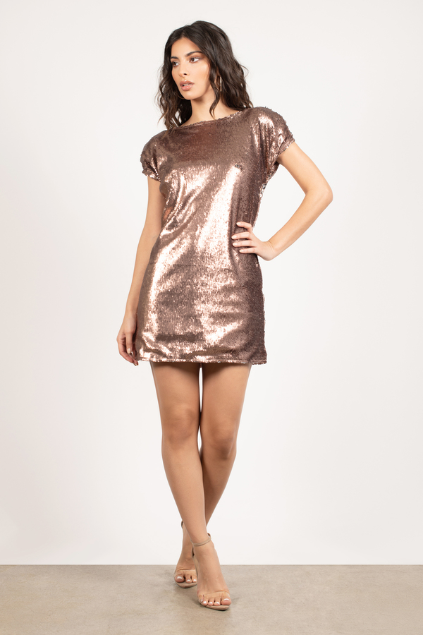 holiday dresses copper the light is coming sequin shift dress