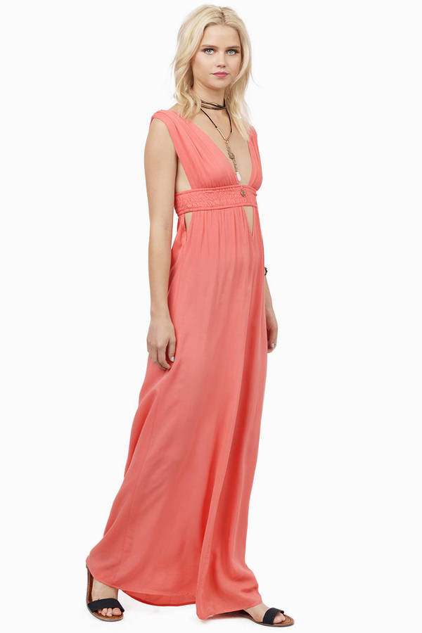Coral Maxi Dress  Shop Coral Maxi Dress at Tobi