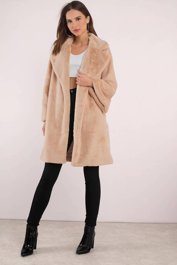 Long Coats, Cream, Camilla Faux Fur Coat, ...