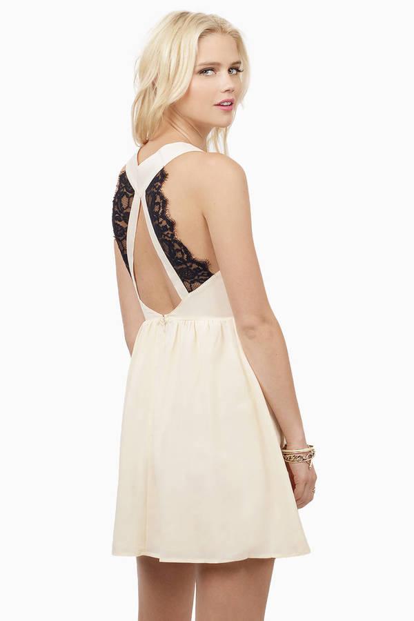 Cream Skater Dress - Green Dress - Deep V Dress - Sea White Dress ... db9027230