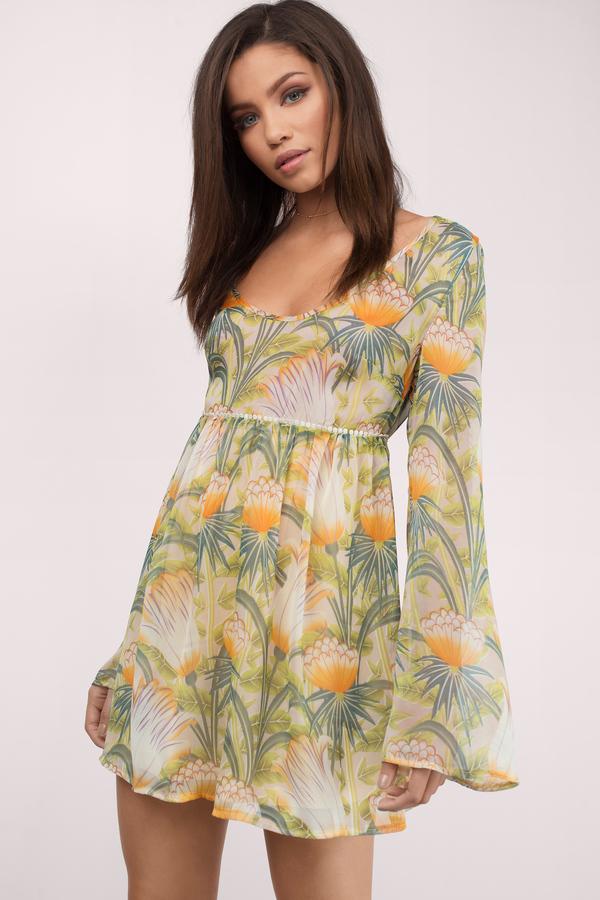 Sundresses for Women | Long Sleeve White & Yellow Sundresses | Tobi