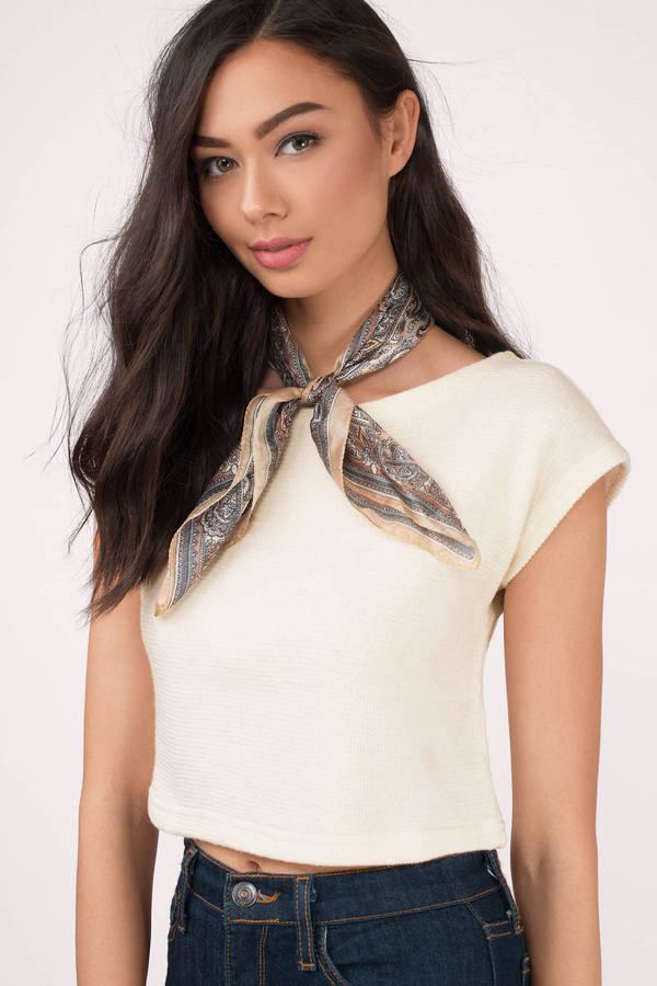 87065515a3ce09 White Crop Top - Sweater Crop Top - White Knit Crop - £9   Tobi GB
