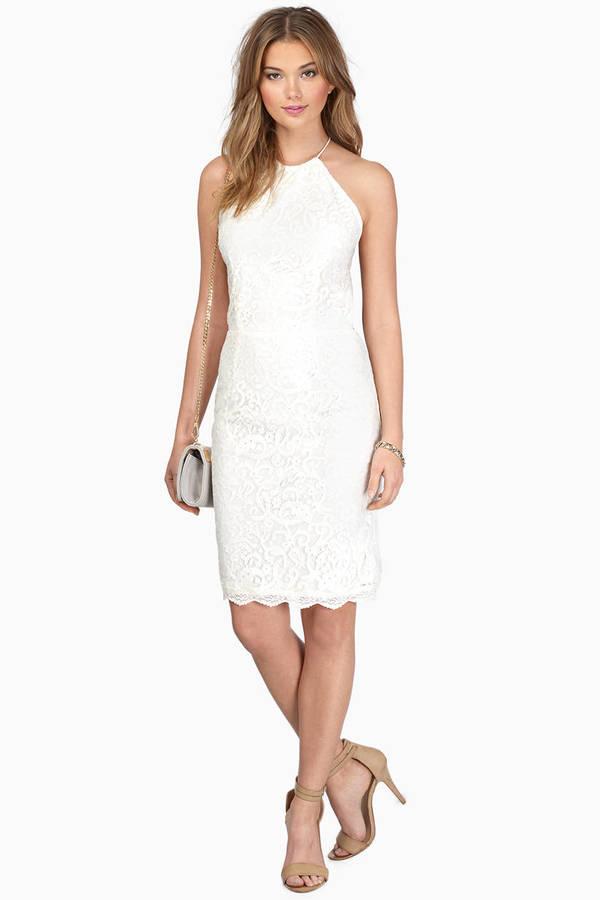 Cream Dress - Backless Dress - White Jacquard Dress - Bodycon Dress ...