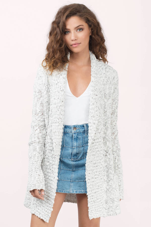 Cream Cardigan - White Cardigan - Open Front Cardigan - $35.00