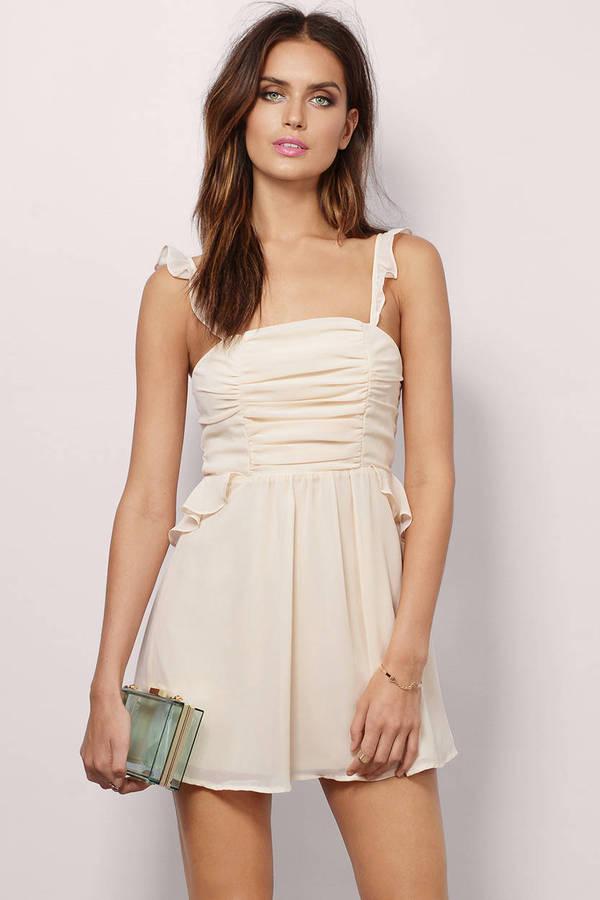 9aa4a9c9f55 Cream Skater Dress - White Dress - Peplum Dress - Cream Skater - C ...