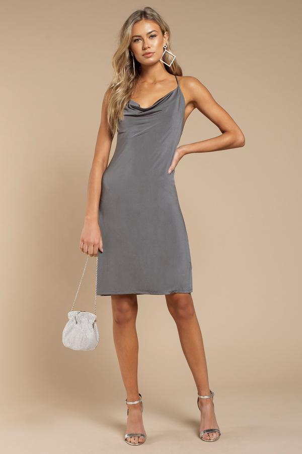 902020281f28 Dark Grey Dress - Strappy Dress - Pewter Dress - Bodycon Dress ...