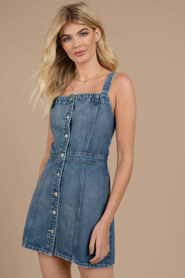 a855ee9dbc Boyish Jeans Boyish Jeans The Kennedy Dark Wash Button Down Denim Dress ...