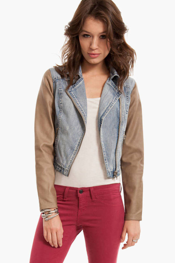 Contrast Denim Moto Jacket