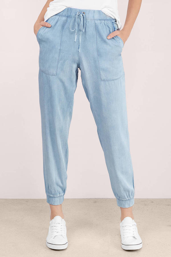 Awesome NEW WOMENS LADIES BLUE CHINO LOOK DENIM CUFFED JOGGER JEANS SIZE 6 8 10 12 14 | EBay