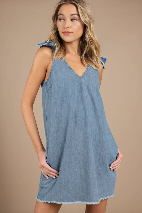 Minkpink Lexi Denim Shoulder Tie Swing Dress by Tobi