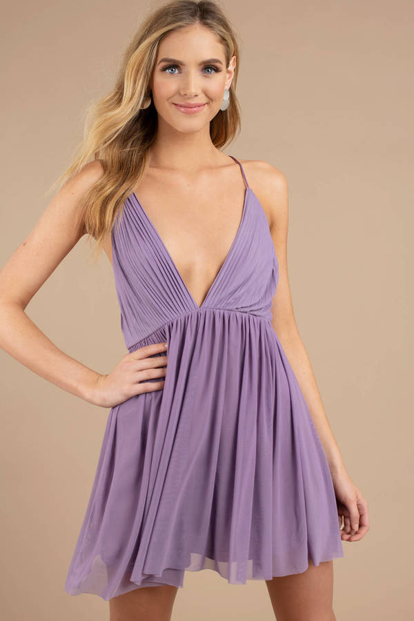 Purple Dresses Dusty Always Around Plunging Skater Dress