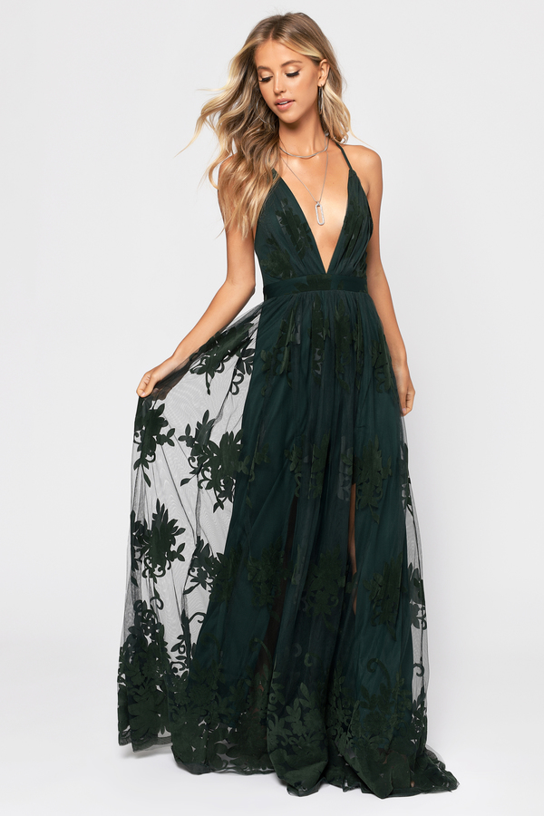 Green Maxi Dress Lace Overlay Dress Green Plunge Formal Dress