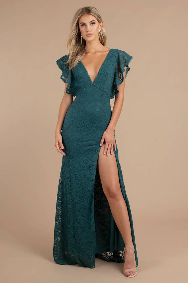 Green Maxi Dress - Flutter Sleeve Dress - Green Formal Dress - Deep ... d97b99487