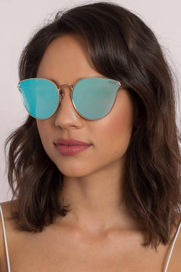 Quay Eyewear Damen Sonnenbrille All MY Love, Gold (Gold/Blau), 1