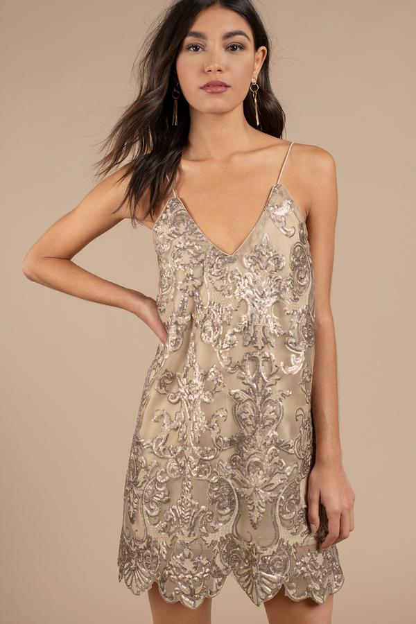 Short Gold Sequin Dress