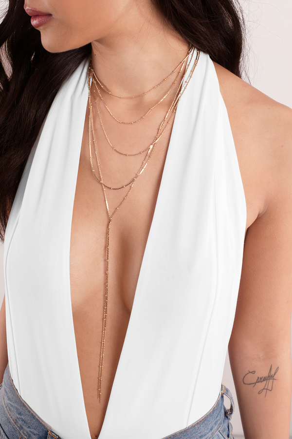 Dip It Low Silver Layered Necklace by Tobi