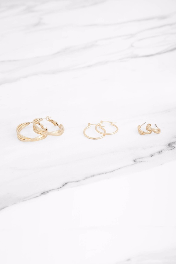 Eternity Gold Hoop Earring Set