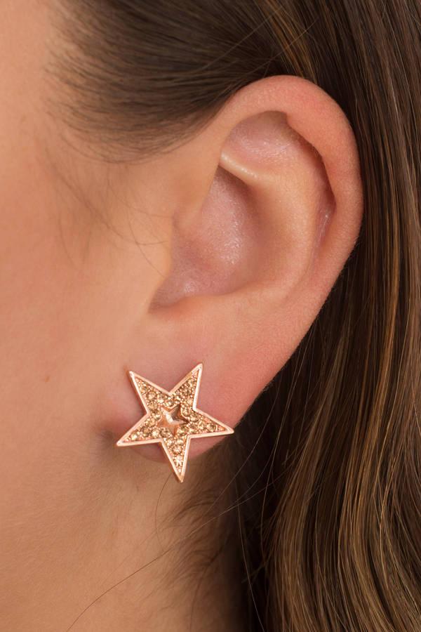 Evening Star Gold Rhinestone Earrings
