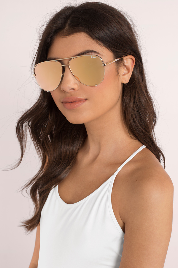 Quay Blue Mirrored Sunglasses Blue Aviators Quay
