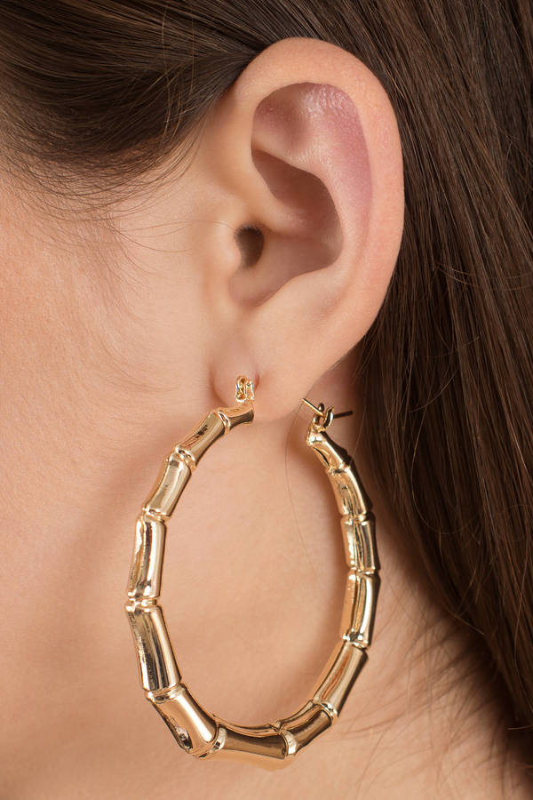 Into The Wild Gold Bamboo Hoop Earrings
